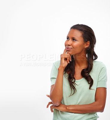 Buy stock photo An African American woman looking at copyspace over white background