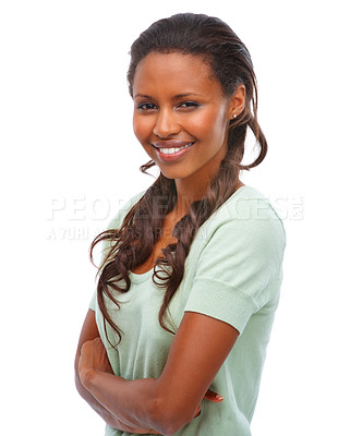 Buy stock photo Cute African American female with her hands folded over white