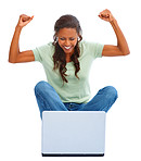 Happy young woman working on a laptop on white, hands raised