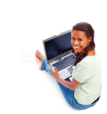 Buy stock photo Top view of a lovely young female using a laptop on white background