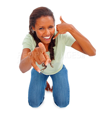 Buy stock photo Portrait of an African American woman pointing and making a call me gesture on white background