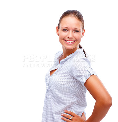 Buy stock photo Portrait of a charming young female posing over white background