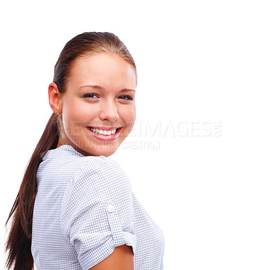 Buy stock photo Portrait of a happy young female posing isolated over white background