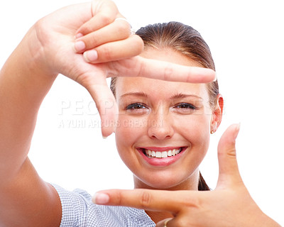 Buy stock photo Closeup portrait of a cute young woman creating a frame with her fingers