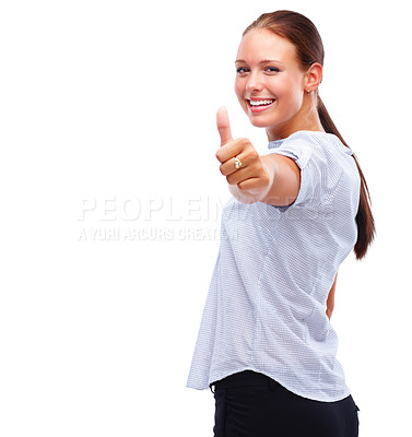 Buy stock photo Happy young woman showing a success sign over white background