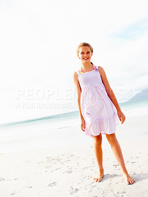Buy stock photo Full length portrait of pretty young girl on the sea shore