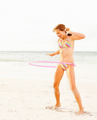 Buy stock photo Image of teen girl performing Hula Hoop dance at the beach