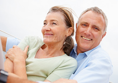 Buy stock photo Happy mature couple enjoying together on a vacation