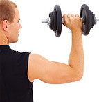 Cropped image of a young guy holding a dumbbell on white