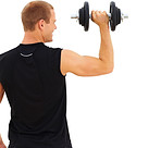 Rear view of a young guy holding a dumbbell on white