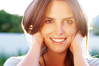 Buy stock photo Relaxed young woman looking happy outside