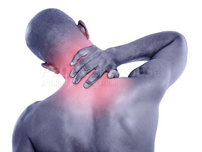 Buy stock photo Rear view studio shot of a man rubbing his painful neck