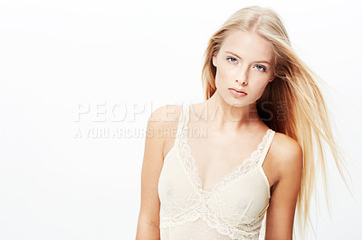 Buy stock photo A pretty young blond isolated on a white background