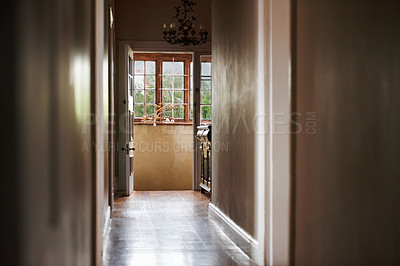 Buy stock photo A corridor leading to the house's kitchen