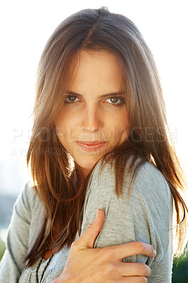 Buy stock photo Portrait of beautiful young female model