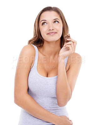 Buy stock photo An attractive young woman enjoying a slab of chocolate