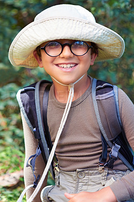 Buy stock photo Portrait of a cute little boy scout outdoors smiling