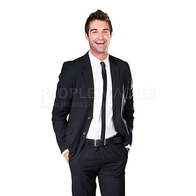 Buy stock photo A handsome man in a suit - isolated background