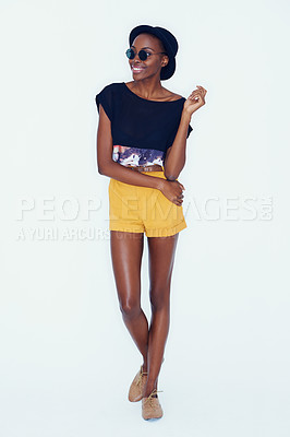 Buy stock photo Full-length shot of a trendy young ethnic woman posing in the studio
