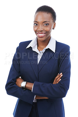 Buy stock photo Studio portrait of a smiling businesswoman