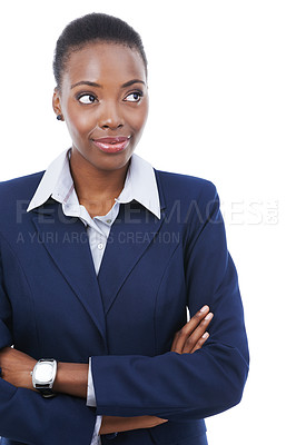 Buy stock photo Studio shot of an african american businesswoman with her arms crossed looking out of frame