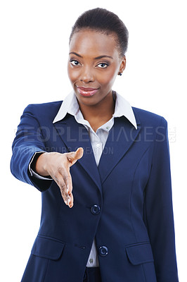 Buy stock photo Portrait of a businesswoman extending her hand for a handshake