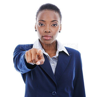 Buy stock photo Studio portrait of a young businesswoman pointing at the camera isolated on white