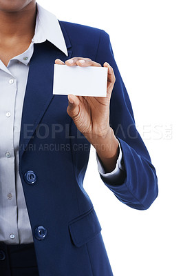 Buy stock photo Studio shot of an african american businesswoman holding up a blank card isolated on whte