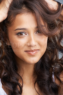 Buy stock photo Portrait of a beautiful young ethnic woman