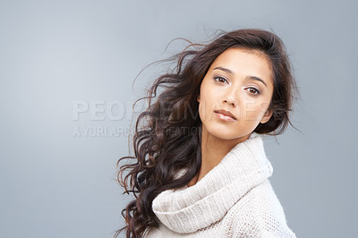 Buy stock photo Portrait of beautiful woman with copyspace