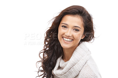 Buy stock photo Portrait of a beautiful brunette in winter clothing smiling at the camera with copyspace