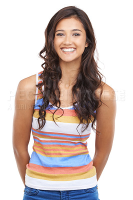 Buy stock photo A pretty casual woman smiling at the camera