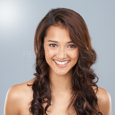 Buy stock photo Portrait of a beautiful young ethnic woman with curly brown hair