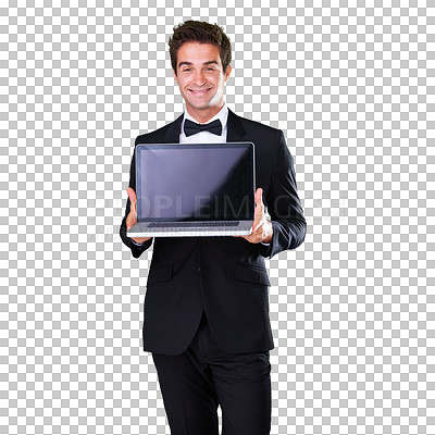 Buy stock photo A man dressed in a suit presenting a laptop to the camera