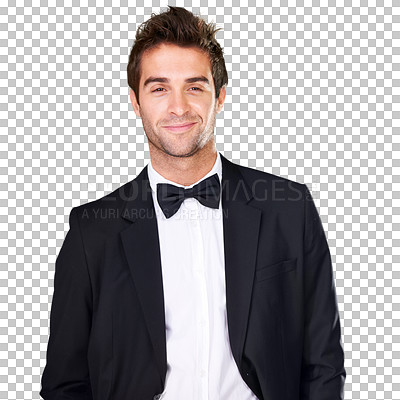 Buy stock photo A young man in a suit and bowtie