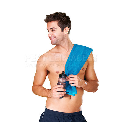 Buy stock photo Studio shot of a handsome bare-chested man with a towel and water bottle isolated on white