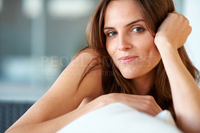 Buy stock photo Closeup of pretty young woman looking happy