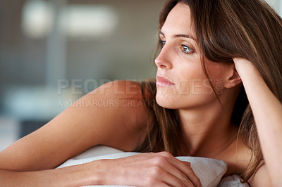 Buy stock photo Closeup portrait of attractive young lady thinking