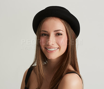 Buy stock photo Portrait of a beautiful woman wearing trendy clothing