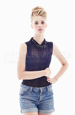 Buy stock photo Studio portrait of a young model isolated on white