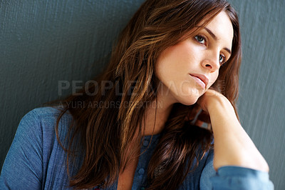 Buy stock photo Lovely young female model looking away