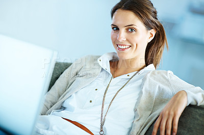 Buy stock photo Happy young female sitting with a laptop