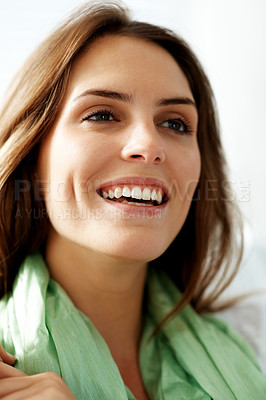 Buy stock photo Closeup of a joyful young female looking away