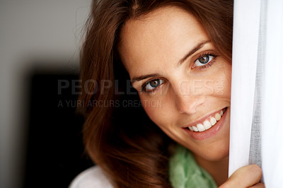 Buy stock photo Closeup of a pretty young woman looking happy