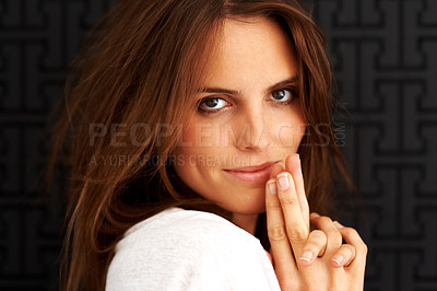 Buy stock photo Closeup of a lovely young female model posing