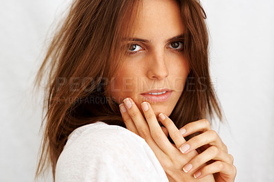 Buy stock photo Closeup of a cute young lady looking confidently