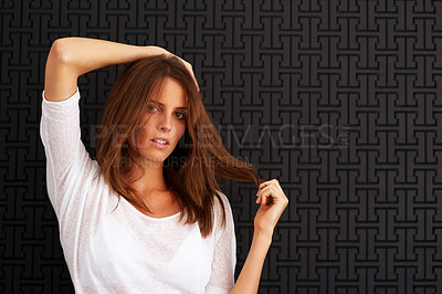 Buy stock photo Pretty young woman posing - Copyspace
