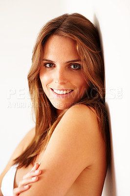 Buy stock photo Sexy young beautiful woman smiling