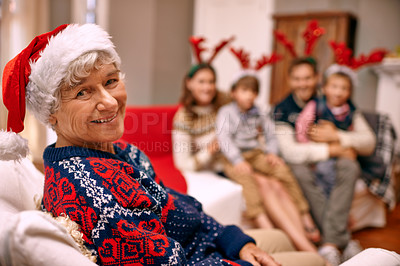 Buy stock photo A happy grandmother with her family on Christmas Eve