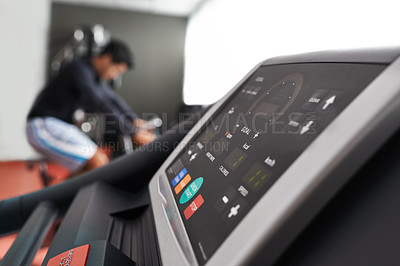 Buy stock photo Shot of a cardio equipment at a gym